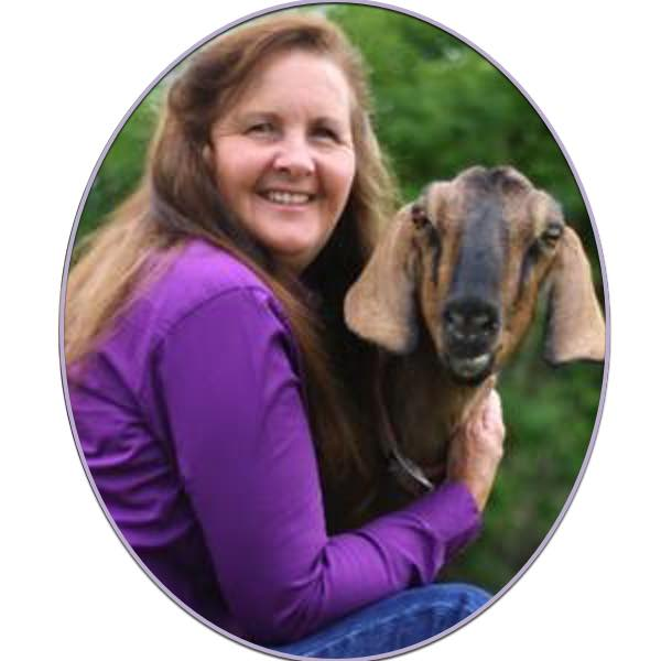 Brenda Anderson with Grandma Cookie a goat
