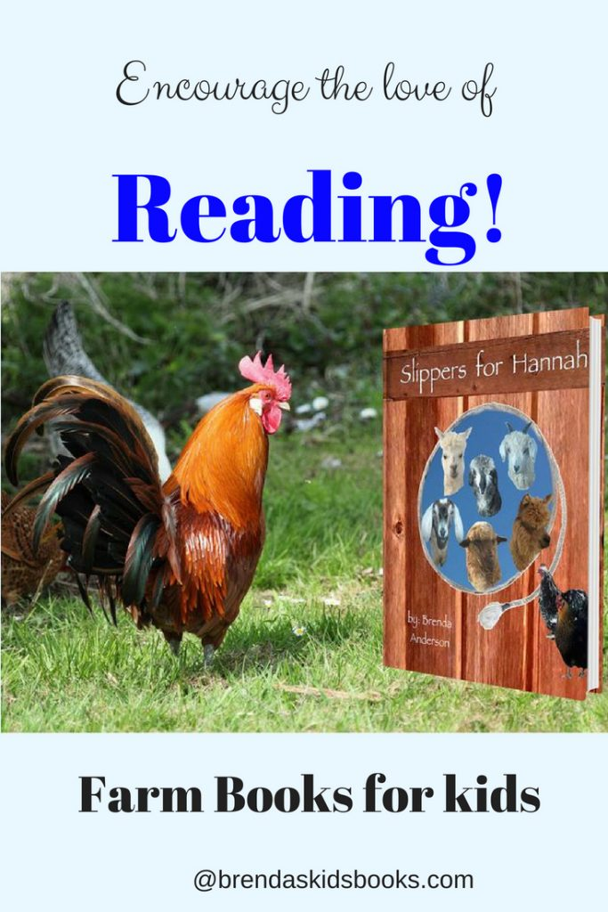 Farm books for kids. Encourage the love of reading, Rooster looking at Slippers for Hannah