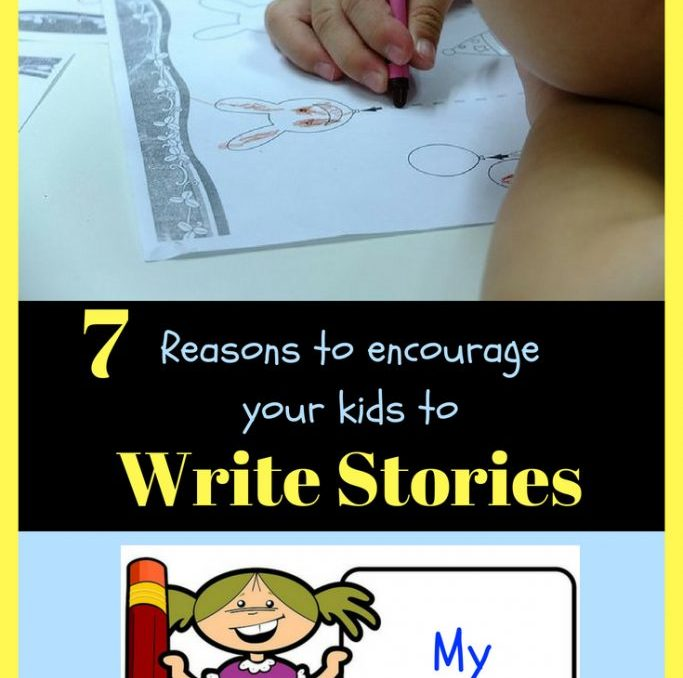"""""""7 reasons to encourage your kids to write stories. """" Little kid coloring, little cartoon girl holding a book and pencil smiling that says my stories."""