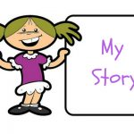 Little cartoon girl with a pencil and a smile holding her book that says my story
