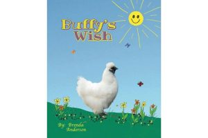 Buffy's Wish Silkie Chicken with sunshine clouds and flowers, cover of children's book