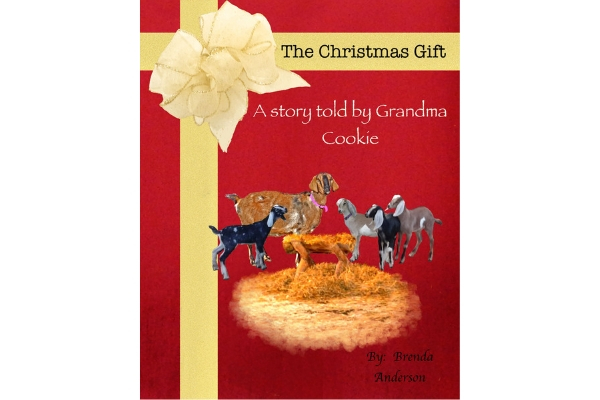 The Christmas Gift a story told by Grandma Cookie, Ribbon on the book like a package with a manger, Grandma Cookie goat and baby goats