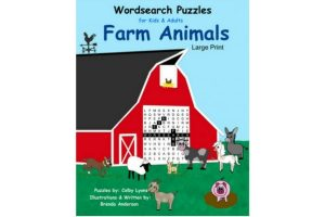 barn with farm animals, word search puzzles, coloring book, about the farm animals