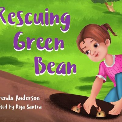 Rescuing Green Bean, little girl in pink bending down to rescue baby birds from a tree trunk. By Brenda Anderson, illustrated by Riya Santra