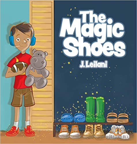 The Magic Shoes book with a boy on the cover, teddy bear, green boots, football and other pairs of shoes.