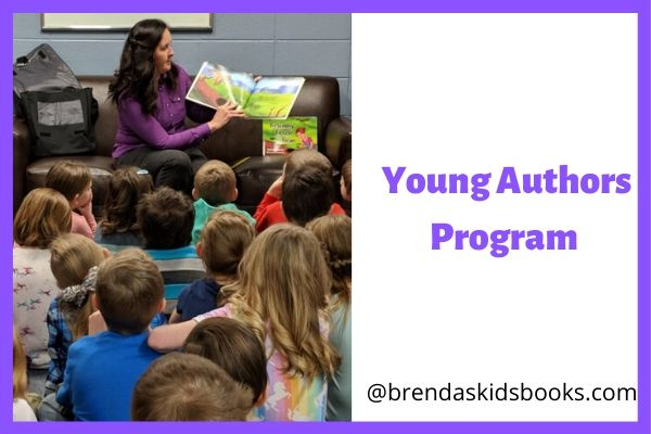 Brenda's Kids books at a school doing a Young Authors Program. Reading a books surrounded by kids.