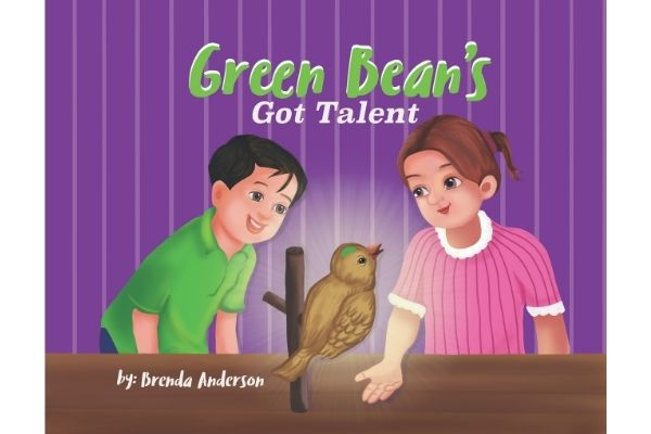 A boy and a girl looking at a bird named Green Bean with a green mark on his head sitting on a perch with a spotlight behind him. Green Bean's Got Talent